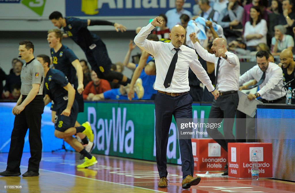 Sasa Obradovic (C), head coach of ALBA Berlin celebrates winning the Beko BBL TOP FOUR Final match between FC Bayern Muenchen and ALBA Berlin at Audi-Dome on February 21, 2016 in Munich, Germany.