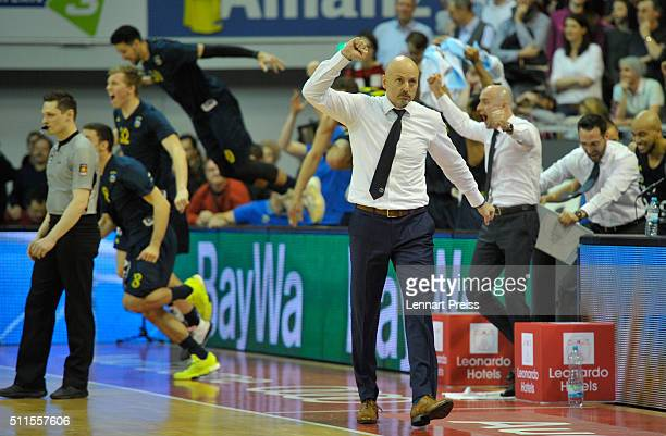 Sasa Obradovic head coach of ALBA Berlin celebrates winning the Beko BBL TOP FOUR Final match between FC Bayern Muenchen and ALBA Berlin at AudiDome...