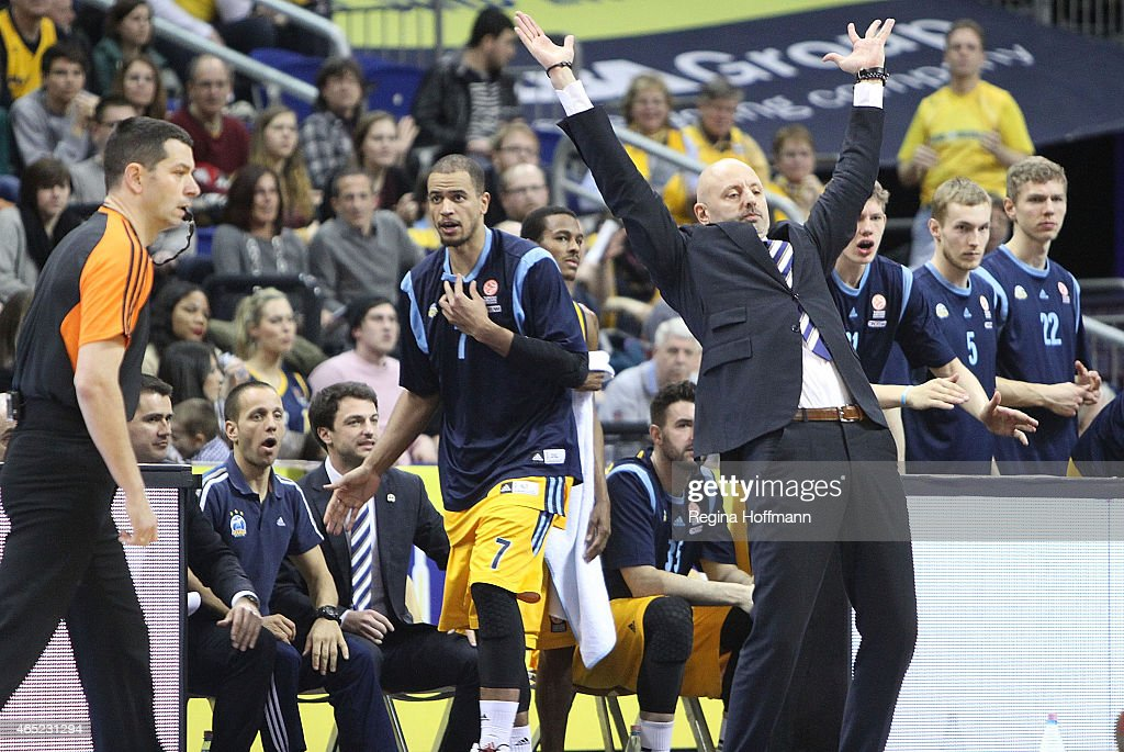 Sasa Obradovic, Head Coach of Alba Berlin in action during the Turkish Airlines Euroleague Basketball Top 16 Date 9 game between Alba Berlin v Zalgiris Kaunas at O2 World on March 4, 2015 in Berlin, Germany.