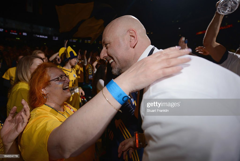 Sasa Obradovic, head coach of Berlin celebrates with fans after winning the Beko BBLTop Four final game between Ratiopharm Ulm and Alba Berlin at O2 World on March 24, 2013 in Berlin, Germany.