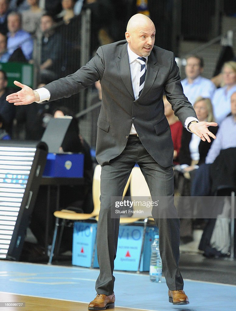 Sasa Obradovic, head coach of Berlin gestures during the BBL game between EWE Baskets Oldenburg and Alba Berlin at the EWE arena on February 3, 2013 in Oldenburg in Holstein, Germany.