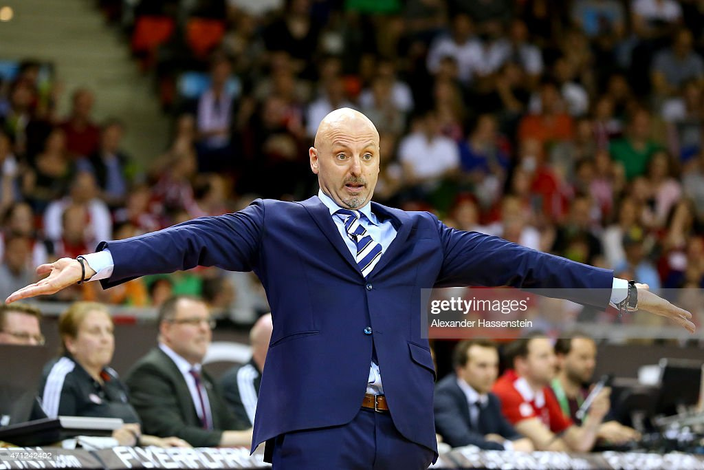 Sasa Obradovic, head coach of Berlin reacts during the Beko Basketball Bundesliga match between FC Bayern Muenchen and ALBA Berlin at Audi-Dome on April 17, 2015 in Munich, Germany.
