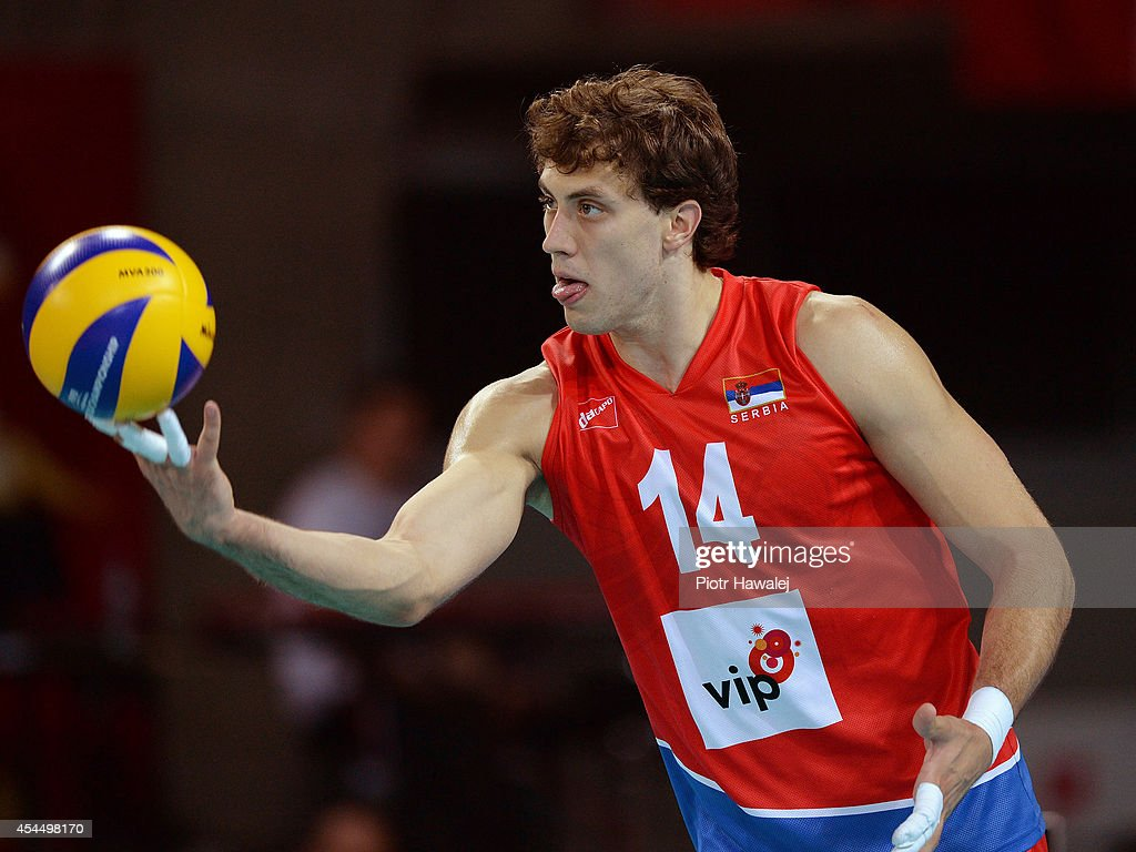 Sasa Starovic of Serbia serves the ball during the FIVB World Championships match between Serbia and Argentina on September 2, 2014 in Wroclaw, Poland.