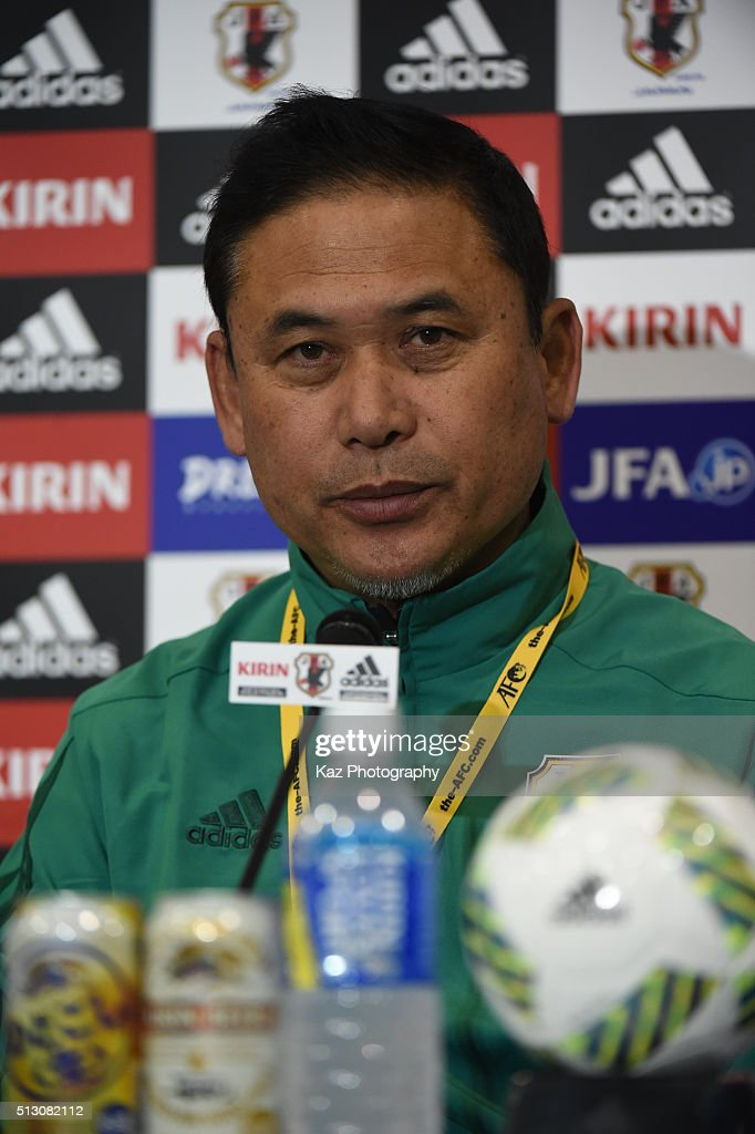 Sasaki Norio, manager of Japan at the press conference during the AFC Women's Olympic Final Qualification Round match between Australia and Japan at Kincho Stadium on February 29, 2016 in Osaka, Japan.