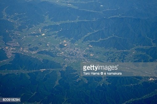 Sasayama city in Hyogo prefecture day time aerial view from airplane : ストックフォト