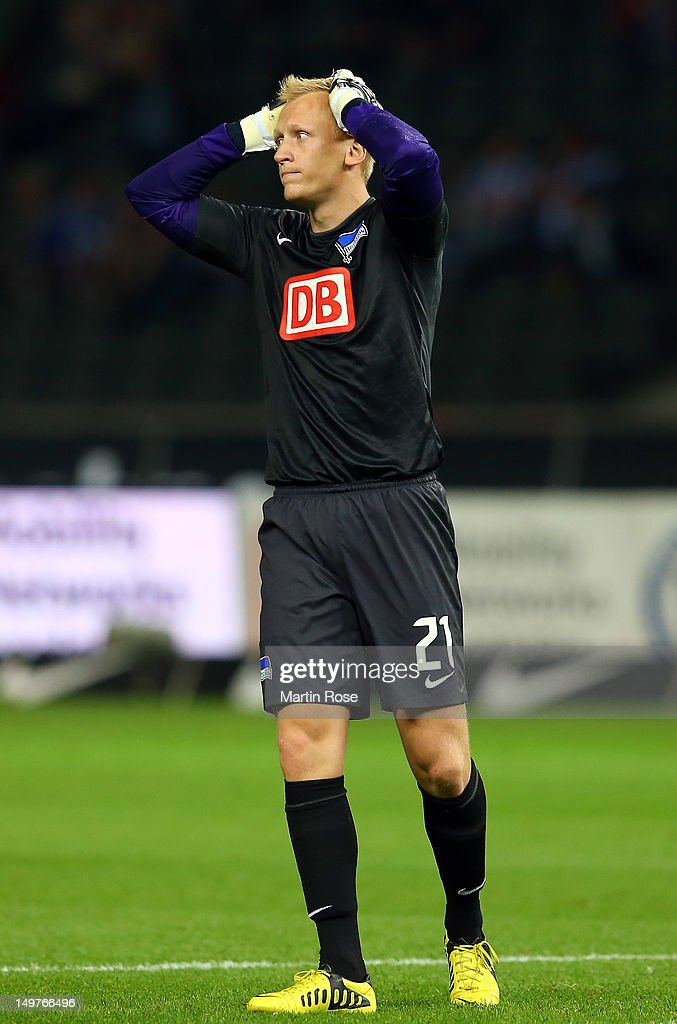 <a gi-track='captionPersonalityLinkClicked' href=/galleries/search?phrase=Sascha+Burchert&family=editorial&specificpeople=2268765 ng-click='$event.stopPropagation()'>Sascha Burchert</a>, goalkeeper of Berlin reacts during the Second Bundesliga match between Hertha BSC Berlin and SC Paderborn at Olympiastadion on August 3, 2012 in Berlin, Germany.
