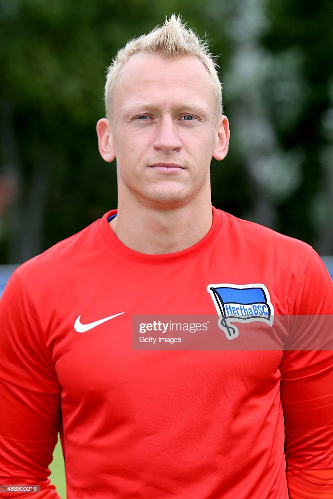 <a gi-track='captionPersonalityLinkClicked' href=/galleries/search?phrase=Sascha+Burchert&family=editorial&specificpeople=2268765 ng-click='$event.stopPropagation()'>Sascha Burchert</a> poses during the Hertha BSC team presentation on July 10, 2015 in Berlin, Germany.