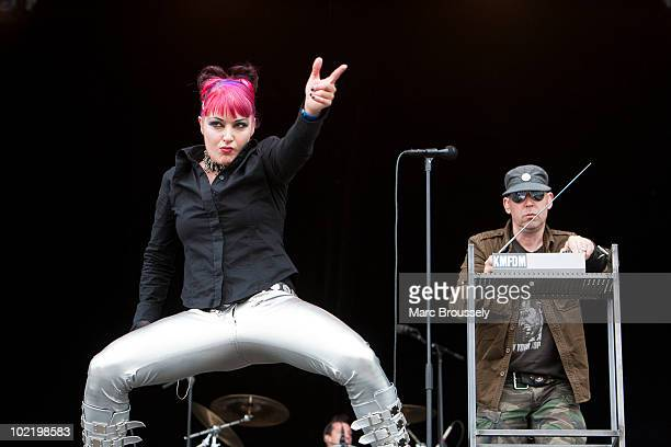 Sascha Konietzko and Lucia Cifarelli of KMFDM performing on stage at Hellfest Festival on June 18 2010 in Clisson France
