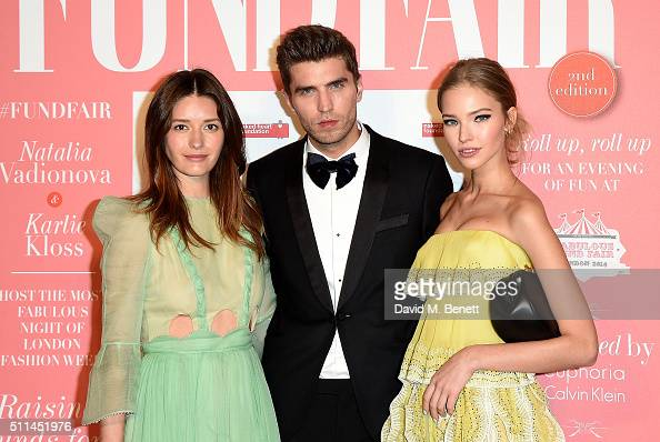 Sascha Luss and Lyza Onysko with guest at The Naked Heart Foundation's Fabulous Fund Fair in London at Old Billingsgate Market on February 20 2016 in...