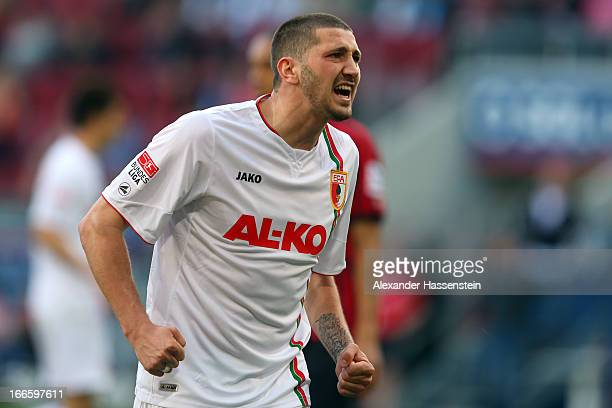 Sascha Moelders of Augsburg reacts during the Bundesliga match between FC Augsburg and Eintracht Frankfurt at SGL Arena on April 14 2013 in Augsburg...