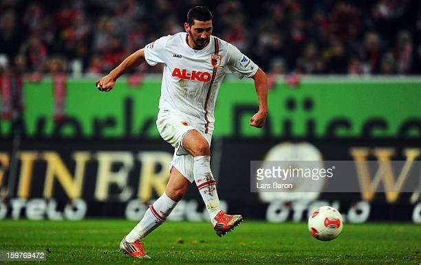 Sascha Moelders of Augsburg scores his teams first goal during the Bundesliga match between Fortuna Duesseldorf 1895 and FC Augsburg at EspritArena...