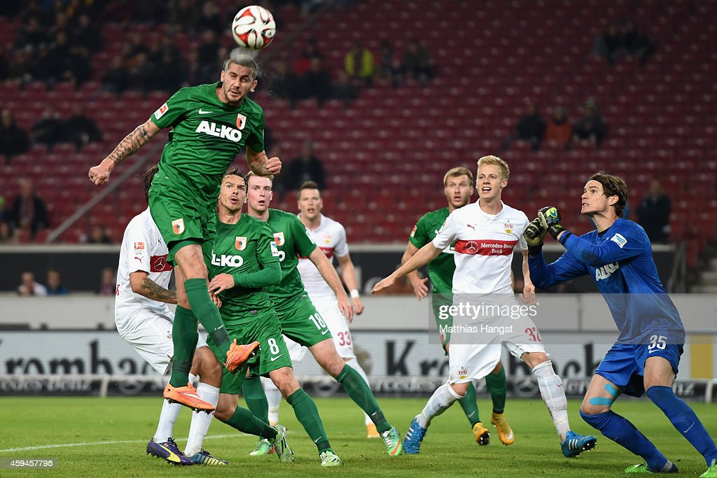 Sascha Moelders of Ausgburg fights for the ball during the Bundesliga match between VfB Stuttgart and FC Augsburg at MercedesBenz Arena on November...