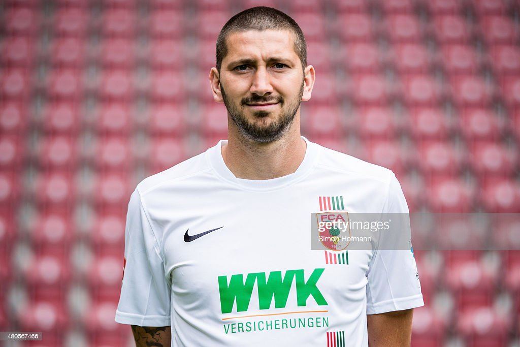 Sascha Moelders poses during the FC Augsburg Team Presentation at WWKArena on July 8 2015 in Augsburg Germany