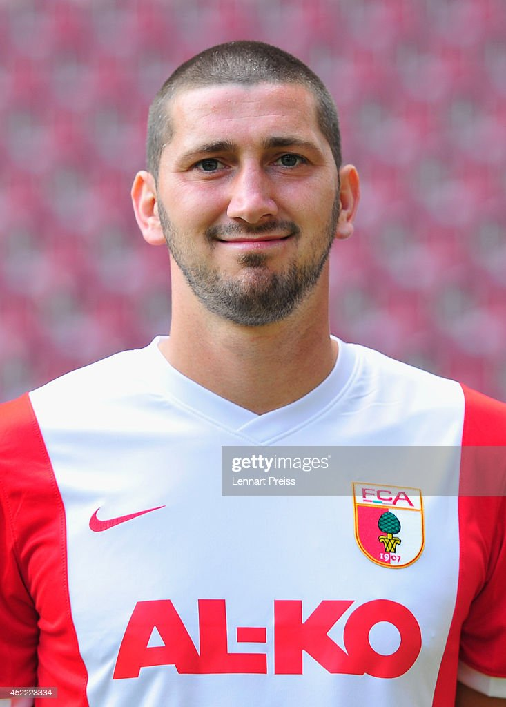 Sascha Moelders poses during the team presentation of FC Augsburg at SGL Arena on July 16 2014 in Augsburg Germany