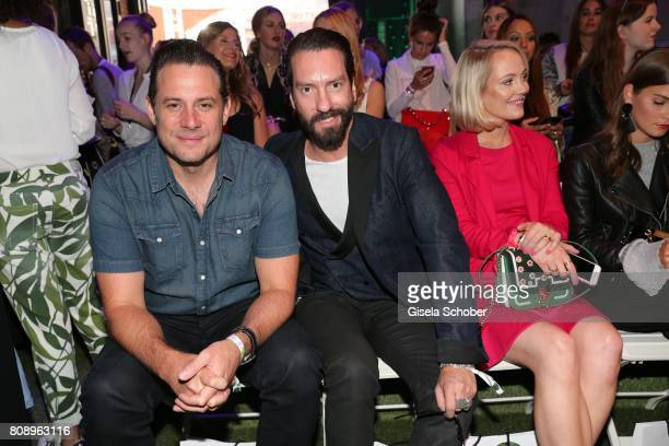 Sascha Vollmer and Alec Voelkel band The Boss Hoss during the Marc Cain Fashion Show Spring/Summer 2018 at ewerk on July 4 2017 in Berlin Germany