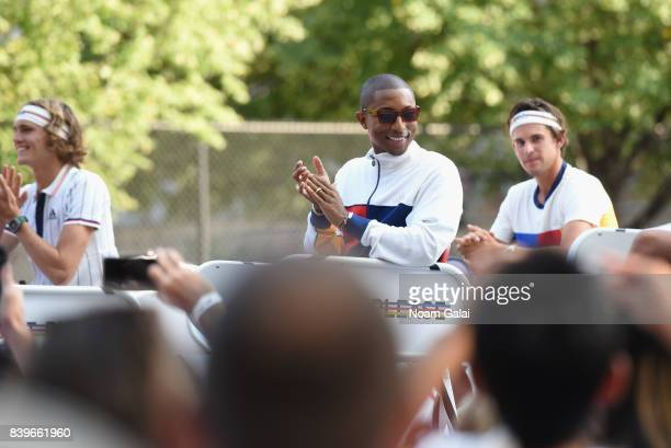 Sascha Zverev Pharrell Williams and Dominic Thiem attend adidas Tennis Pharrell Williams Don't Be Quiet Please Event at Frederick Johnson Tennis...