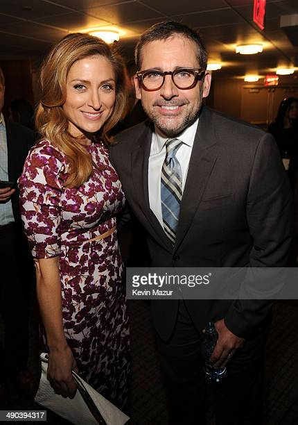 Sasha Alexander and Steve Carell attend the TBS / TNT Upfront 2014 at The Theater at Madison Square Garden on May 14 2014 in New York City...