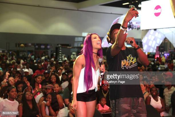 Sasha Banks speaks onstage at day one of CocaCola Music Studio during hte 2017 BET Experience at Los Angeles Convention Center on June 24 2017 in Los...