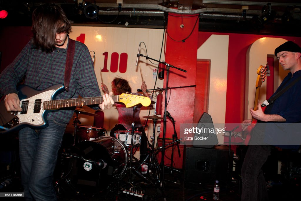 Sasha Carlson, Jacob Moore and Thomas Beal of Splashh support Palma Violets, perform on stage at The 100 Club on March 4, 2013 in London, England.