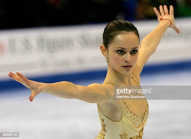 Sasha Cohen competes in the Women's Free program during the 2006 State Farm US Figure Championships at the Savvis Center on January 14 2006 in St...