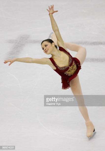 Sasha Cohen of the United States performs during the women's Free Skating program of figure skating during Day 13 of the Turin 2006 Winter Olympic...