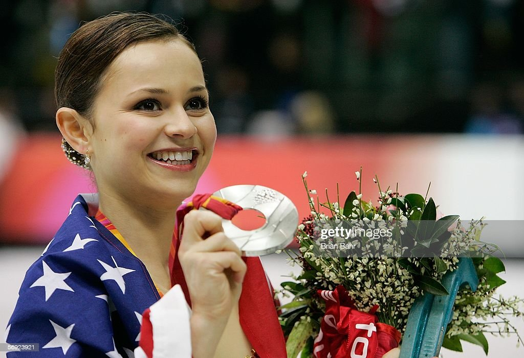 Sasha Cohen of the United States wins the silver medal in the women's Free Skating program of figure skating during Day 13 of the Turin 2006 Winter...