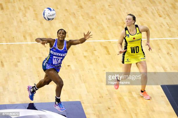 Sasha Corbin of the Mystics attempts to intercept a pass to Claire Kersten of the Pulse during the New Zealand Premiership match between the Pulse...