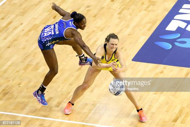 Sasha Corbin of the Mystics defends against Claire Kersten of the Pulse during the New Zealand Premiership match between the Pulse and the Mystics...