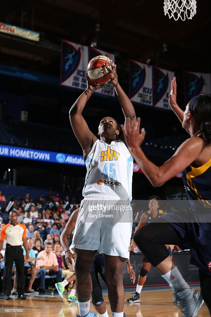 Sasha Goodlett #45 of the Chicago Sky shoots against the Indiana Fever on July 22, 2014 at the Allstate Arena in Rosemont, Illinois.