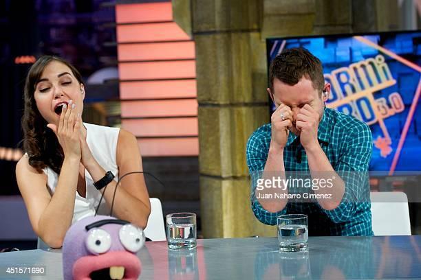Sasha Grey and Elijah Wood attends 'El Hormiguero' Tv show at Vertice 360 Studio on July 1 2014 in Madrid Spain