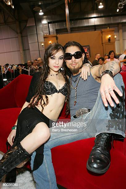 Sasha Grey and musician Dave Navarro at the Teravision booth in the Sands Expo Center at the 2008 AVN Adult Entertainment Expo on January 11 2007 in...