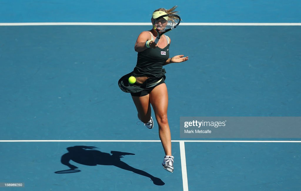 Sasha Jones of Australia plays a forehand in her qualifying singles match with Nina Bratchikova of Russia during day two of the Hobart International at Domain Tennis Centre on January 5, 2013 in Hobart, Australia.