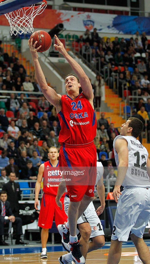 <a gi-track='captionPersonalityLinkClicked' href=/galleries/search?phrase=Sasha+Kaun&family=editorial&specificpeople=802084 ng-click='$event.stopPropagation()'>Sasha Kaun</a>, #24 of CSKA Moscow in action during the 2012-2013 Turkish Airlines Euroleague Regular Season Game Day 7 between CSKA Moscow v Partizan mt:s Belgrade at Megasport Sports Palace on November 22, 2012 in Moscow, Russia.