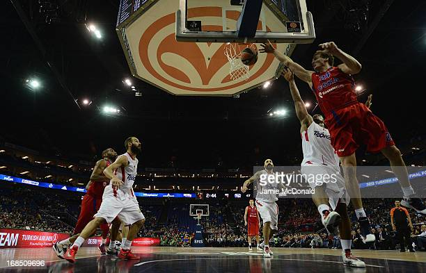 Sasha Kaun of CSKA Moscow drives to the basket during the Turkish Airlines EuroLeague Final Four semi final game between CSKA Moscow v Olympiacos...