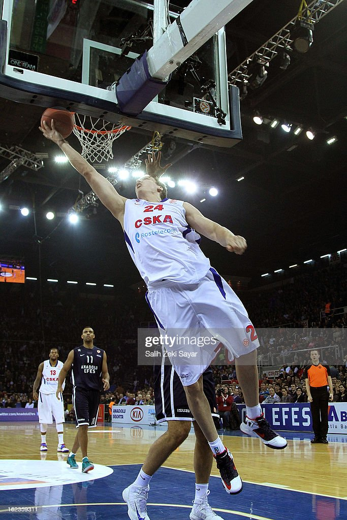 Sasha Kaun #24 of CSKA Moscow in action during the 2012-2013 Turkish Airlines Euroleague Top 16 Date 8 between Anadolu EFES Istanbul v CSKA Moscow at Abdi Ipekci Sports Arena on February 22, 2013 in Istanbul, Turkey.