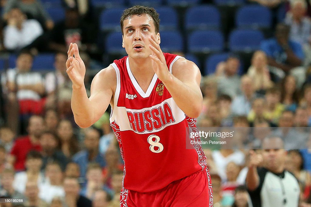 <a gi-track='captionPersonalityLinkClicked' href=/galleries/search?phrase=Sasha+Kaun&family=editorial&specificpeople=802084 ng-click='$event.stopPropagation()'>Sasha Kaun</a> #8 of Russia reacts during the Men's Basketball bronze medal game between Russia and Argentina on Day 16 of the London 2012 Olympics Games at North Greenwich Arena on August 12, 2012 in London, England.