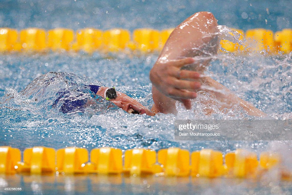 Sasha Kindred of Great Britain on his way to winning silver in the Men's 50m Freestyle S6 Final during the IPC Swimming European Championships held at the Pieter van den Hoogenband Swimming Stadium on August 6, 2014 in Eindhoven, Netherlands.