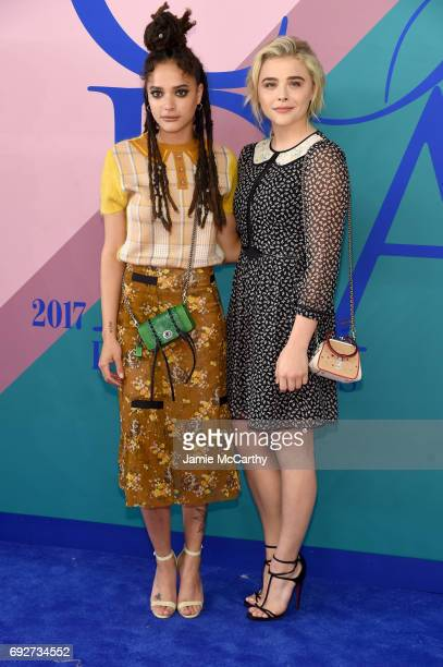 Sasha Lane and Chloe Grace Moretz attend the 2017 CFDA Fashion Awards at Hammerstein Ballroom on June 5 2017 in New York City