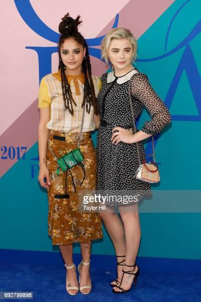 Sasha Lane and Chloe Grace Moretz attend the 2017 CFDA Fashion Awards at Hammerstein Ballroom on June 5 2017 in New York City