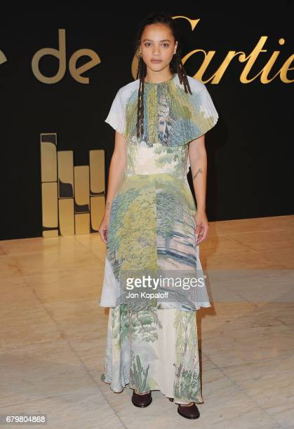 Sasha Lane arrives at the Panthere De Cartier Party In LA at Milk Studios on May 5 2017 in Los Angeles California