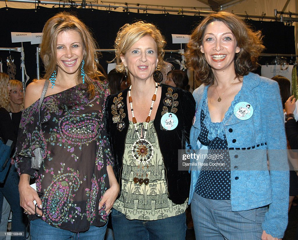 Sasha Lazard, Nanette Lepore and Illeana Douglas during Olympus Fashion Week Spring 2005 - Nanette Lepore - Front Row and Backstage at Plaza Tent, Bryant Park in New York City, New York, United States.