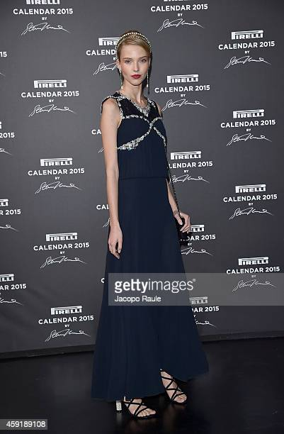 Sasha Luss attends the 2015 Pirelli Calendar Red Carpet on November 18 2014 in Milan Italy