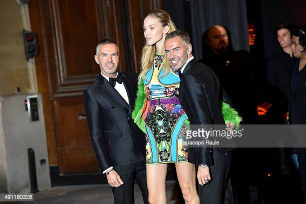 Sasha Luss Dean Caten and Dan Caten are seen arriving at Vogue 95th Anniversary Party during the Paris Fashion Week Ready To Wear S/S 2016 Day Five...