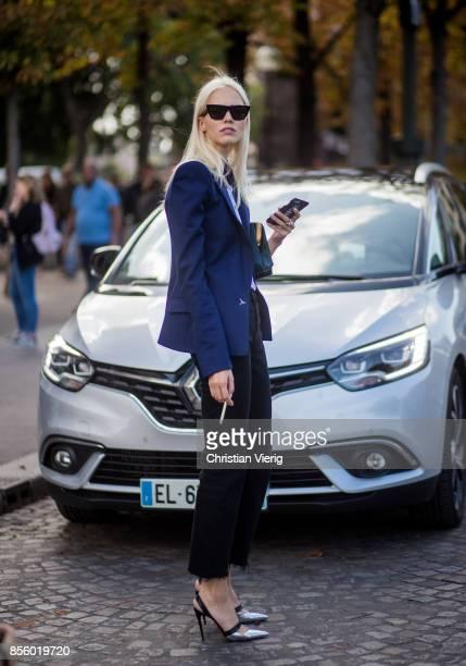 Sasha Luss is seen outside Mugler during Paris Fashion Week Spring/Summer 2018 on September 30 2017 in Paris France
