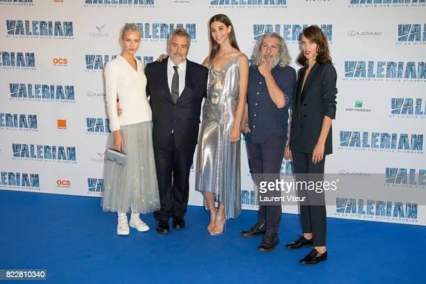 Sasha Luss Luc Besson Pauline Hoareau Alain Chabat and Aymeline Valade attend 'Valerian et la Cite desMille Planetes' Paris Premiere at La Cite Du...