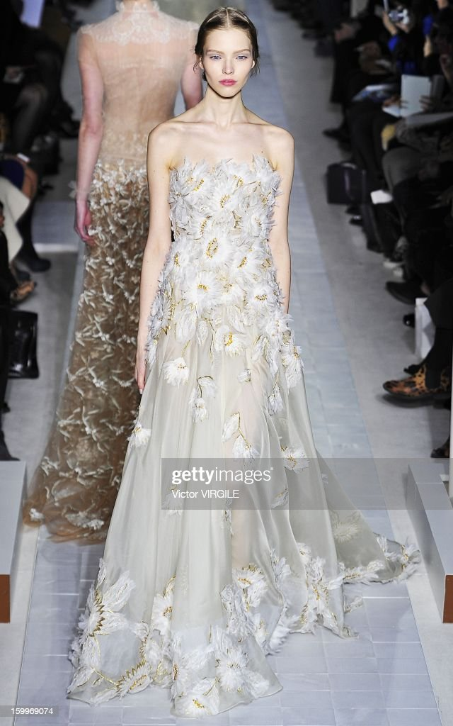 Sasha Luss walks the runway during the Valentino Spring/Summer 2013 Haute-Couture show as part of Paris Fashion Week at Hotel Salomon de Rothschild on January 23, 2013 in Paris, France.
