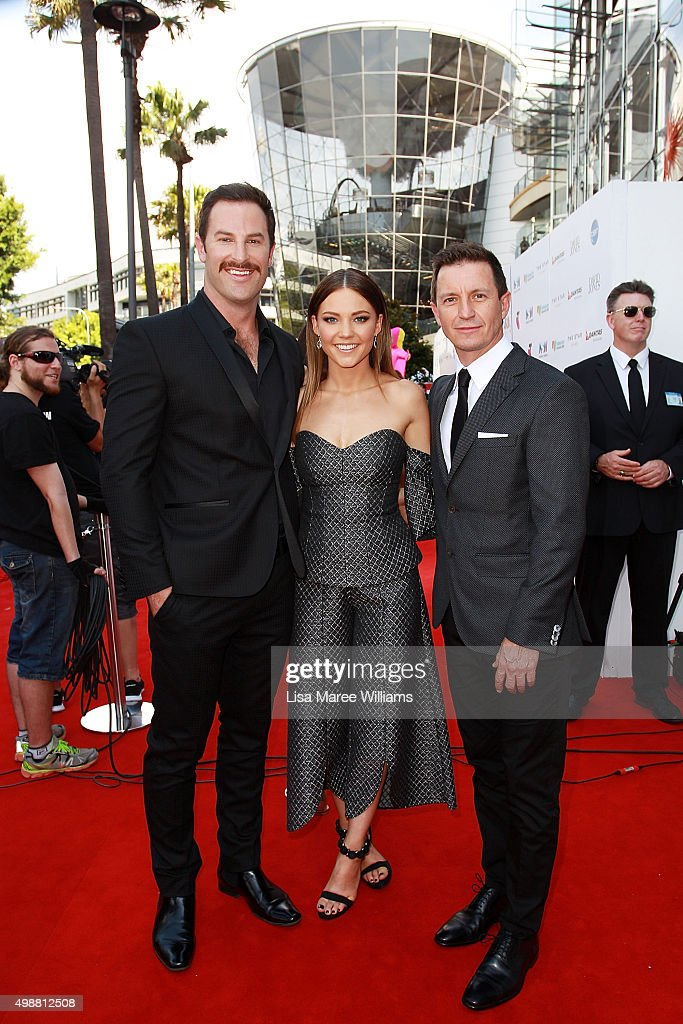 Sasha Mielczarek, Sam Frost and Rove McManus rrives ahead of the ARIA Awards 2015 at The Star on November 26, 2015 in Sydney, Australia.
