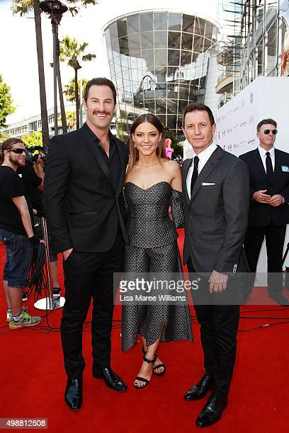 Sasha Mielczarek Sam Frost and Rove McManus rrives ahead of the ARIA Awards 2015 at The Star on November 26 2015 in Sydney Australia
