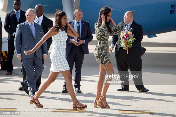 Sasha Obama and Malia Obama arrive at Torrejon Air Force Base on June 29 2016 in Madrid The First Lady will deliver a speech on Let Girls Learn to...