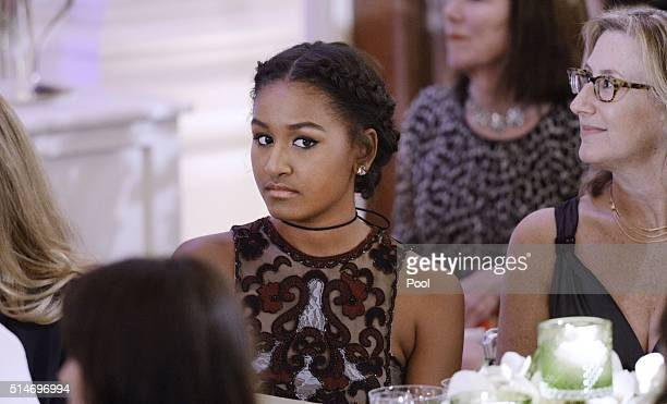 Sasha Obama attends a State Dinner at the White House March 10 2016 in Washington DC Hosted by President and First Lady Obama the dinner is in honor...